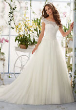 Lace Scoop Neck A-line Sleeve Wedding Dresses