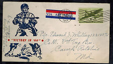 1944 USA Patriotic Cover Ithaca NY to Camp Ritchie MD Victory in 44 Army Soldier