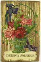Lovely Birthday Greeting Gold Dresden Embossed Flower Basket Vintage Postcard