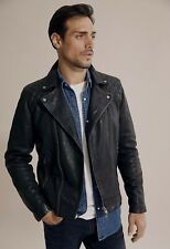 Country Road Men's Washed Moto Leather Jacket [L] BLACK NWT RRP$600