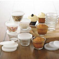 Baking Glass Cupcake Ramekin Set W/Lid Food Storage Dessert Serving Prep Bowl