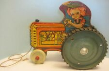 """Antique Toy Tractor Little Girl Farmer Driver 9 1/2"""" Paper Litho Wood 1940s Rare"""