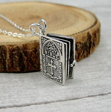 925 Sterling Silver 3D Holy Bible Necklace - OPENS - Engraved with Lord's Prayer