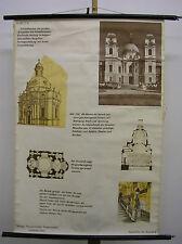 schönes Schulwandbild Geschichte der Baustile Barock 79x115 vintage map~1960