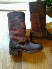 RRP £99 EU 37-41 Oxygen Wedge Stitch Down Mid Calf Boot Tagus Brandy Size 4-8