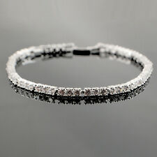 18ct White Gold Filled Clear Cubic Zirconia CZ Crystal Tennis Bracelet UK B38