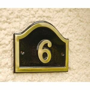 Polished Brass and Black Arched House Number Signs – House Signs Numbers 1-49