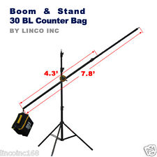 Photo Studio Lighting 7.8ft Boom Arm Light Stand 30lb Counter Weight Bag Kit