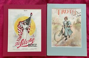 LIBERTY BICYCLE AD 1896 TRUTH MAGAZINE & RECREATION ISSUE BICYCLE COVER - MATTED