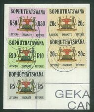 SOUTH AFRICA (BOPHUTHATSWANA) - 1988 Revenue stamps to R50 on piece (ME506)*