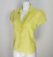 MONSOON cotton neon green ruffle frill Collared neck sleeve cuff top blouse 10