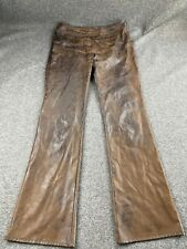 UNITED COLORS OF BENETTON  SIZE 42 FAUX LEATHER BROWN DISTRESSED PANTS EUC