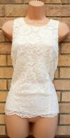 FLORENCE FRED WHITE IVORY FLORAL LACE CROCHET SLEEVELESS FIT BLOUSE TOP 12 M
