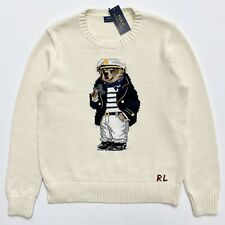 Polo Ralph Lauren Captain Bear Knit Sweater L Large Nautical Graphic Pullover