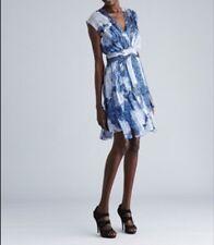 WORTH New York Cornflower Under The Sea Chiffon Carwash  Dress $748  Size 4