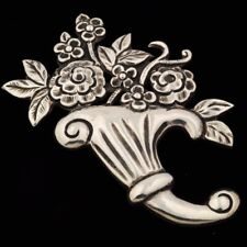Vintage Monumental Mexican Silver Repousse Floral Bouquet Brooch Pin Taxco