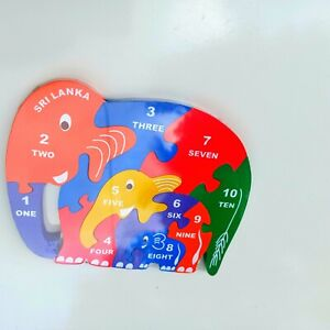 Wooden Elephant Kids Puzzle Number Education Learning Montessori Baby Toy