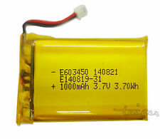 Li-po Rechargeable Baterry Cell F GPS MP3 MP4 3.7V 1000mAh 063450 with connector