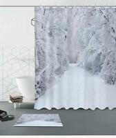 Snowing Forest Xmas Scenic Waterproof Fabric Polyester Shower Curtain Mat &Hooks