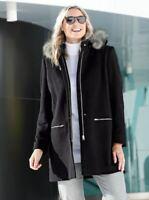 Damen Kurzmantel Wolljacke Jacke Kapuze schwarz - NEU & OVP große Größen Fell 50
