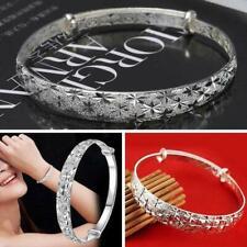 Women 925 Silver Crystal Adjustable Bangle Cuff Bracelet Fashion Jewelry Gifts