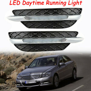 LED Fog Lights Assembly DRL Daytime Lamp For Mercedes-Benz C-Class W204 11-13