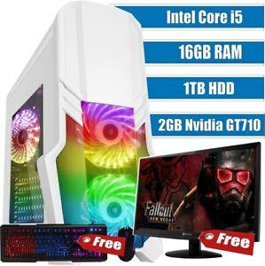 Fast Gaming PC Computer Bundle Monitor Quad Core i5 16GB 1TB Win 10 2GB GT710 ✅