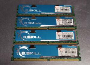 Lot of 4 G.Skill PC2-8500 2GB DIMM DDR2 1066MHz Memory (F2-8500CL5D-4GBPK) 4x2GB