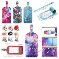 Travel Luggage Bag PU Leather Tags Name Address ID Label Suitcase Baggage Tag