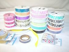 Fabric Ribbon 5/8 music note pattern pink purple orange black green zigzag LOT