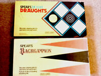 Draughts & Backgammon By Spears - Vintage - Wooden Pieces Great Quality