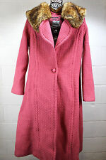 $423 TRACY REESE New York Pungen Pink Faux Fur Woven Wool Coat Jacket 12 New