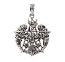 Sterling Silver Raven Pentacle Pendant -Dryad Design Wicca/Pagan Talisman/Amulet