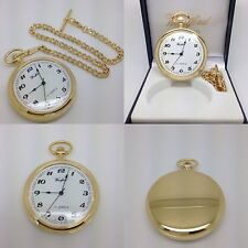 18ct Gold Plated Woodford Full Face Pocket Watch With Albert Chain 1031