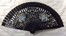 Vintage Black Lacquered Wood Material Hand Fan Hand Painted Mums 1960s Japan E3