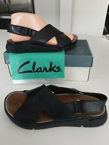 Clarks TRIGENIC Tri Alexia Soft Black Leather Crossover Straps Sandals size 5 D