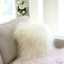 "ICELANDIC SHEEPSKIN LONG SHAGGY FUR CUSHION PILLOW  40cm WHITE 16"" GENUINE"
