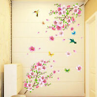 Pink Peach Tree Blossom Butterflies Wall Stickers Floral Art Decals Home Decor