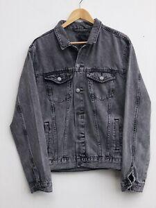 "Fantastic NEW LOOK Men's Charcoal Grey Denim Jacket size Large / Fit Chest 42"""