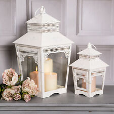 Set Of 2 White Lanterns Metal Country Vintage Wedding Home Accessories Ornate