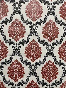 Erismann Damask Wallpaper Glitter Shimmer Red White Black Blown Vinyl Trail