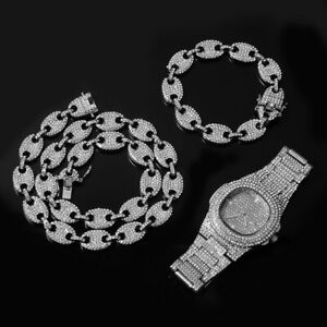 Iced Diamond Silver Chain Necklace Bracelet Watch Set Bling Out Jewellery