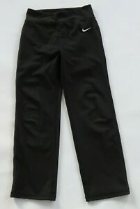 Nike Girls Stretch Polyester Dri Fit Solid Black Activewear Pants Youth Size 6