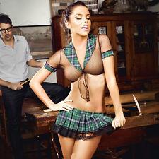 Sexy Women Transparent Lace Mesh Lingerie Plaid Underwear Student Costume Suit