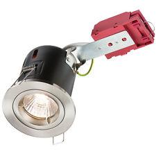 Knightsbridge 230V 50W fisso GU10 IC Fire-Rated proiettorino da incasso in cromo spazzolato x1