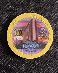 TROPICANA HOTEL, RARE - YELLOW $1000  NCV OVERSIZED DATED CASINO CHIP, LAS VEGAS