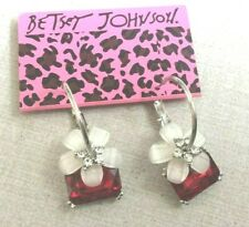 Betsey Johnson Silver Hoop Dangling Crystal Flower & Red Crystal Stone New Item!
