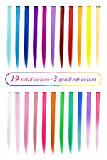 HAIR EXTENSION Party Clip Highlight for Kids Girls Women Multi-Colors Set TOFAFA