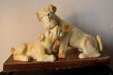 """2 Grande chiens en céramique """" fox terriers"""" sculpture polychrome art-déco."""