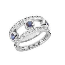 14k White Gold 1.50ct Brilliant Round Diamond Sapphire Wedding Band Ring Jewelry